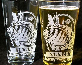 2 Fishing Presents for Men, Personalized Etched Pint Glass, Angler Gift for Father's Day, Present for Dad