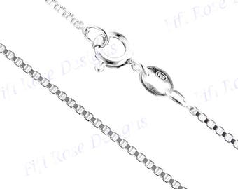 "22"" 1.6mm Genuine Italian 925 Sterling Silver Box Chain Necklace"