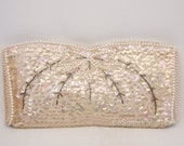 Vintage Beaded Wedding Clutch Champagne Ivory Sequin and Pearl Wedding Purse Beaded Clutch Vintage Beaded Small Purse Formal Hand Bag Japan