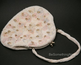 Vintage Ivory Beaded Purse in Pink, Blue and Champagne, Beaded Wedding Purse, Vintage Beaded Formal Hand Bag with Handle