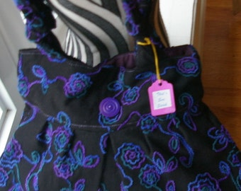 Tammy's Purse - Black with purple flowers