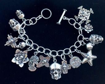 Skull Charm Bracelet Solid Sterling Silver Jewelry Santa Fe Native Goth Biker Style