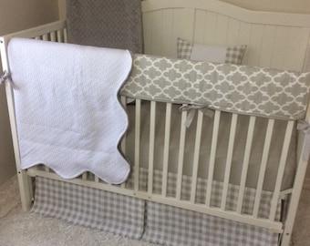 Gender Neutral Crib Bedding Set Bumperless Light Gray and White