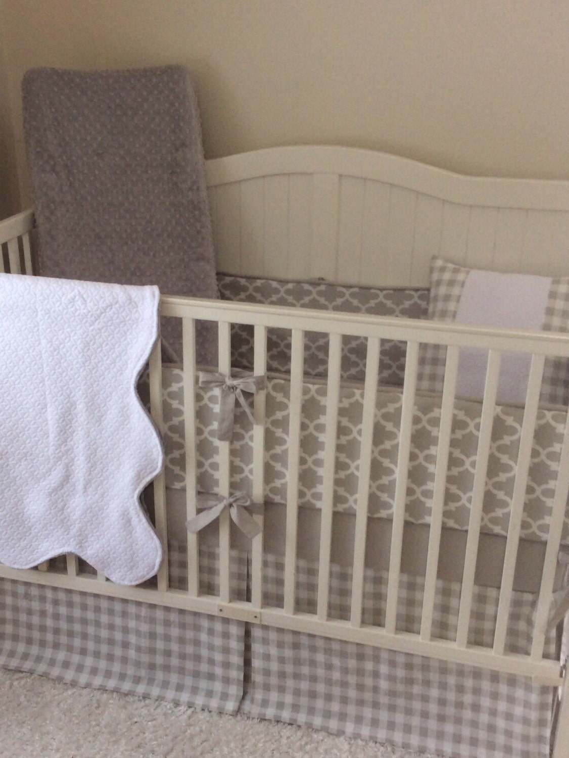 Gender Neutral Crib Bedding Set Light Gray And White
