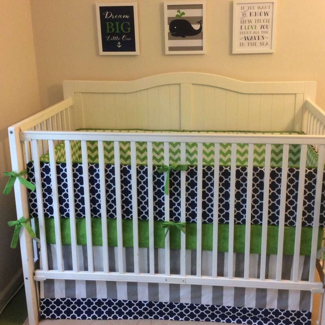Crib bedding set gray white navy blue with by butterbeansboutique - Baby Boy Crib Bedding Set Navy Blue Green And Gray Quatrefoil