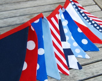Bunting Banner MINI Decoration, Red, Navy, Blue, White Photography Prop -- Baby Shower Decor, Nautical Theme, Birthday Party -- Fabric Flags