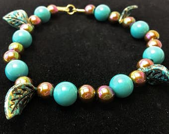 Turquoise and Green Leaves Bracelet