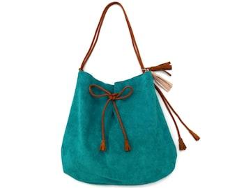 """Large Suede Drawstring Hobo Shoulder Bag in Turquoise. Leather Shopping Bag. Boho Shoulder Bag.  Women's Gift. Gift for Her. """"Lucradora"""""""