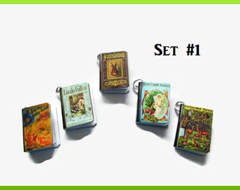 Miniature Fairy Garden Woodland Book Charms Set of All Five, (Set#1)