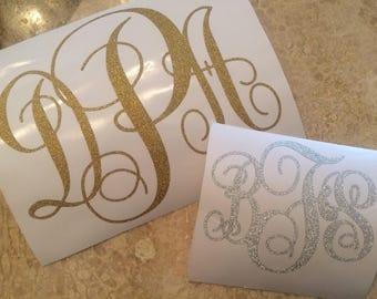 Customized Silver, Gold, or Crimson Glitter Monogram Sticker/Decal