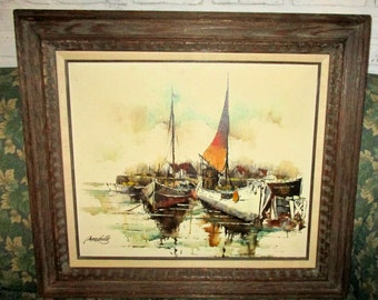 Framed Maritime Fishing Boats Painting Sailboats Vintage Original Mid Century Painting Nautical Wall Art signed Adriano Marchello