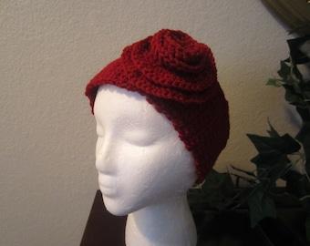 Burgundy Crochet Headband Ear Warmer Head Wrap With Flower And Button