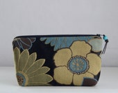 Blue Blooms Wide Padded Zipper Pouch Gadget Case Cosmetics Bag - READY TO SHIP
