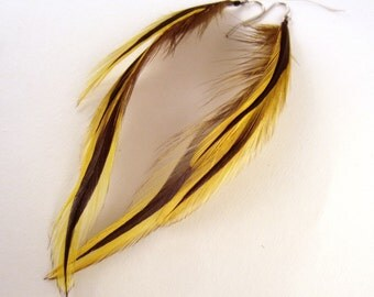 Feather Earrings yellow badger real feathers