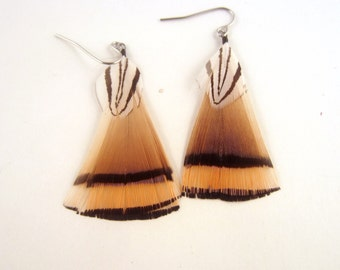 Natural Feather Earrings golden and silver  Pheasant