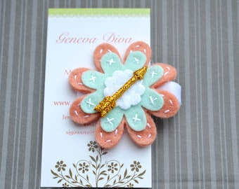 Golden Arrow on Coral and Mint Felt Flower Hairclip