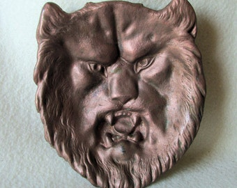 Antique Cast Iron Figural Lion Calling Card Tray, Desk, Vanity Accessory