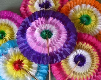 6 Fun Colorful Vintage Fold Out Honeycomb Fan Party Favors