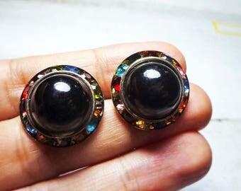 SALE - Black Round with Rhinestone Edge Stud Earrings