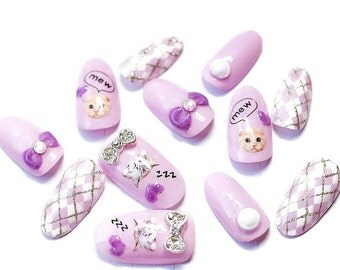 Oval nails, cat nails, kawaii nails, fairy kei, sweet lolita, argyle nail, crazy cat lady, gift for cat lover, pastel fashion, Harajuku,