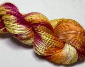 Exmoor Blueface, Silk, Alpaca, hand dyed yarn,100g, Indie dyed