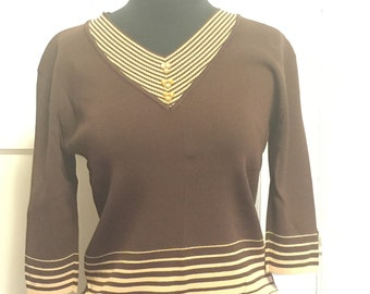 70s brown striped knit sweater
