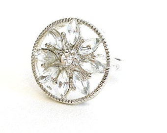 Clear crystal ring, adjustable marquis, vintage style