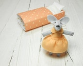 Mouse with bed newborn girl gift fairy play set felt stuffies animals mouse miniature apricot pink doll matchbox christmas stocking filler