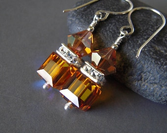 Copper Crystal Earrings, Square Copper Crystal Sterling Silver Dangle Earrings, Hand Made Brown Crystal Earrings
