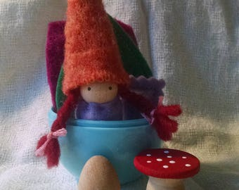 Violet and orange gnome in Easter Egg with forest treasures!