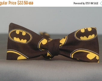 Random Batman Signals on Black  Bow tie