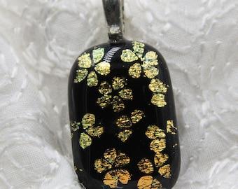 Golden Garden Fused Dichroic Glass Pendant