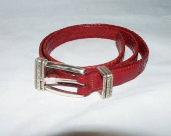 Skinny Braided Woven Red Leather TALBOTS Belt - 1066