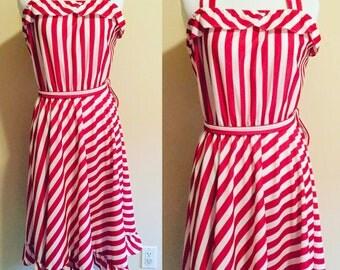 Red and White Stripe Dress, 1970s Striped Dress, Sun Dress Size Small, USA Made Polyester Made Sundress on SALE, Tank Dress