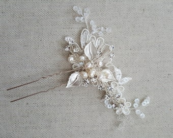Wedding Hair Pins, Rose Gold Bridal Hair Pins, Lace Wedding Hair Pins