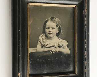 1860's TINTYPE of a Little Girl in ORIGINAL FRAME  -- Identification and History on Backside