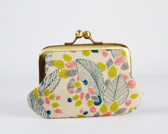 Metal frame purse with two sections - Leaves in lime and pink - Siamese daddy / Japanese fabric / Two pockets / green peach teal