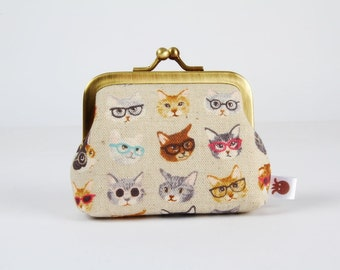 Metal frame coin purse - Mini cats with glasses on off white - Deep mum / Japanese fabric / kawaii kitties / brown white gray blue black