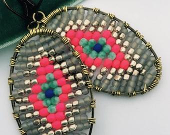 Woven disk earrings