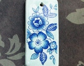 "Blue Flowers on Blue - Ceramic Rectangle Focal Pendant - About 1 1/2"" long"