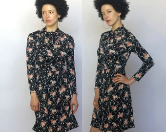 moonlight dance -- vintage 70s high neck floral mini dress XS/S