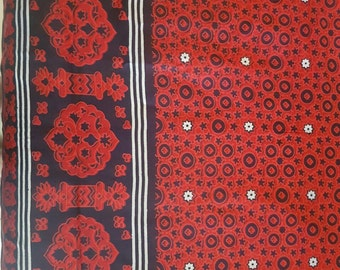 Blockprint Cotton Fabric Red Black White Shawl, Cloth, Scarf and more