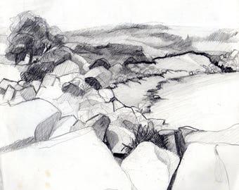 Original drawing, pencil drawing, rocky coast