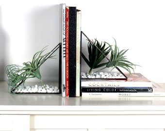 Geometric Triangular Bookend Terrariums- Stained Glass Decor - Home Decor