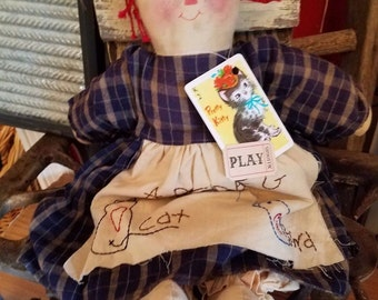 primitive folk art rag doll
