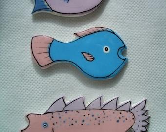 3Fff - CUTE FISH Trio - Ceramic Mosaic Tiles
