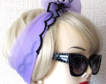 Lilac Chiffon Scarf with Scalloped Edges, very Rockabilly, Pin Up.  50s / 60s Vintage