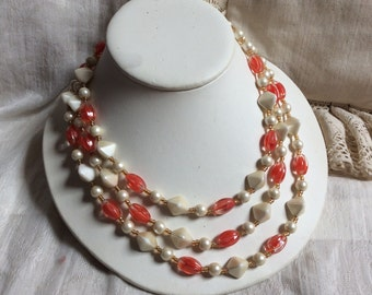 Vintage 3 strand glass pearl beads necklace, sterling silver clasp pearls coral glass triple strand necklace, retro nesting beads