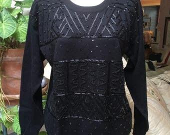 Vintage black beaded pullover sweater, black acrylic black beaded pullover sweater, casual or dressy black crew neck beaded sweater sz M