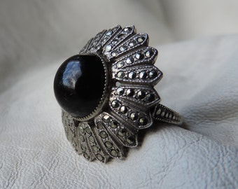deco ring black glass marcasite sterling silver ring